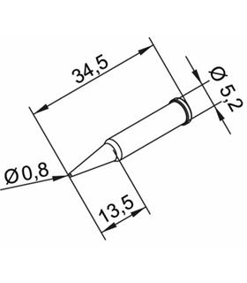 Ponta 0.8mm para ERSA I-Tool - 0102PDLF08L/SB