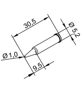 Ponta 1mm para ERSA I-Tool Pack 10un - 0102PDLF10/10