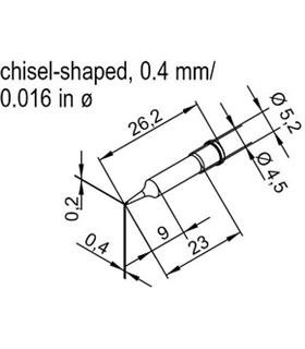 Ponta 0.4mm para ERSA I-Tool Pack 10un - 0102CDLF04/10