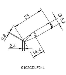 Ponta 2.4mm para ERSA I-Tool Pack 10un - 0102CDLF24L/10