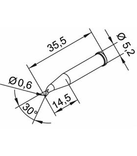 Ponta 0.6mm para ERSA I-Tool Pack 10un - 0102SDLF06L/10