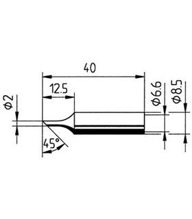Ponta 2mm para ferros e estaçoes ERSA - 0832FDLF/SB