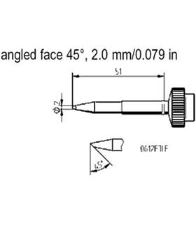 Ponta 2.0mm para ferro Tech Tool de estaçoes ERSA - 0612FDLF/SB