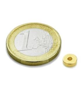 Íman Neodímio N45, Redondo, 6x2mm, Furo 2mm, Dourado - MXRR060202G