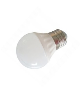 Lâmpada E27 LED esférica opalina 230VAC 4W 3000K 380lm - 306-1734