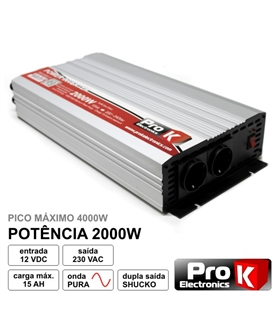 Conversor 12Vdc para 230VAc 2000W Onda Pura - PKIP200012