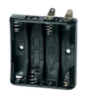 Suporte de 4 pilhas LR3 p/ soldar - S4LR3