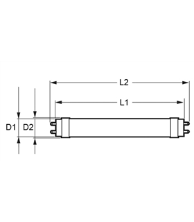Lampada Led T8 10W Branco Frio Vidro - 60cm - VT6144