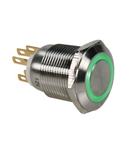 Pulsador Metálico Luminoso Verde R1900G - MS1900G
