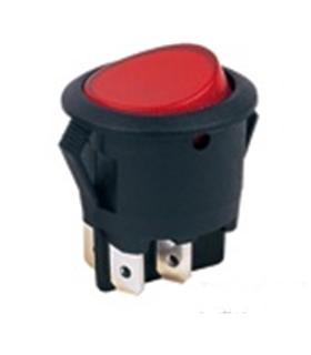 Interruptor Basculante Redondo Com Luz Vermelha 250Vac/6.5A - 914IBRL
