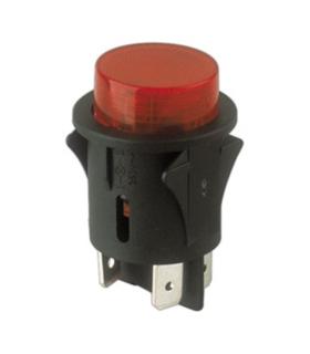 Interruptor de Pressao Grande Redondo com Luz - Vermelho - 914IPRGL