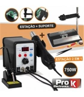 Estaçao Soldar Ar Quente + Ferro Soldar + Suporte Ar Quente - 878DKIT