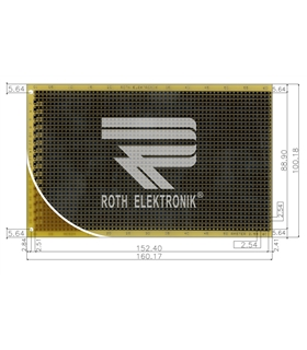 ROTH ELEKTRONIK - RE524-LF - PCB, EUROCARD, FR4, STRIPES - RE524
