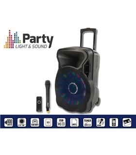 "COLUNA AMPLIFICADA 8"" 300W USB/FM/BT/SD/BAT VHF PRETA - PARTY8LED"