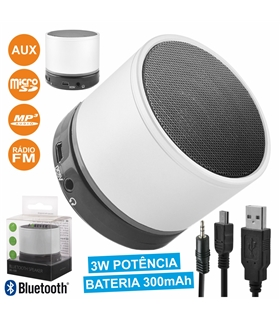 BS100 - COLUNA BLUETOOTH PORTÁTIL 3W USB/SD/AUX/FM/BAT/MIC - BS100W