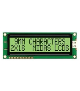 MC21609AC6W-GPTLY-V2 - LCD, 2X16, GREY STN, Y/G - MC21609A6W-GPTLY