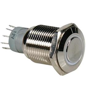 Pulsador Metálico Luminoso Branco R1600W - MS1600W