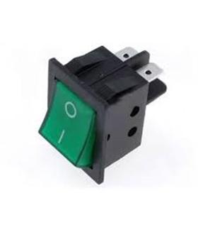 Interruptor Basculante Duplo Pequeno C/Luz Verde - 914BPDLG