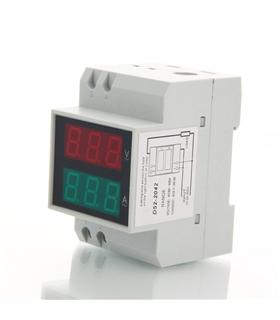 Medidor Digital Voltagem e Amperagem Para Calha DIN - DIN2042
