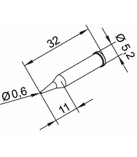 Ponta 0.6mm para ERSA I-Tool - 0102PDLF06L/SB