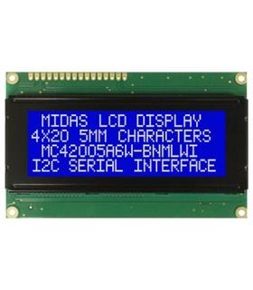 MC42005A6W-BNMLWI-V2 - Alpha-Numeric LCD, 20x4, White/ Blue - MC42005A6W