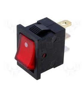 Interruptor Basculante On/Off Pequeno c/ luz Vermelha 12VDC - 914BPCL12V