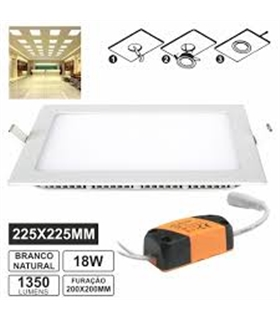 LLPQ22518NW(R) - PAINEL LEDS QUADRADO 18W 225MM BRANCO - LLPQ22518NWR