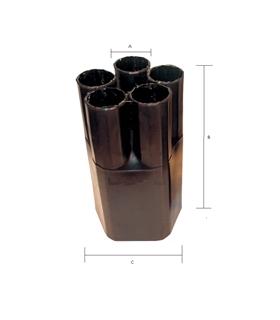 Manga Termoretrátil preta, 1 In/ 4 Out, 4/1, 8cm c/resina - MTR1441
