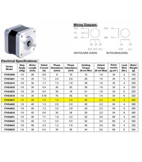 17HS4401 - Step Motor NEMA 17 4.28Kg - 17HS4401