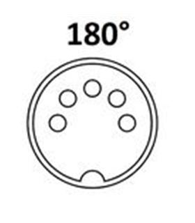 Conector DIN, Femea, 5 Pinos 180° , Cabo - 69DIN5PF