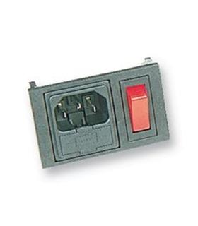 Conector IEC60320 C14, Macho, Painel, Interruptor, Porta Fus - BZH01/Z0000/02