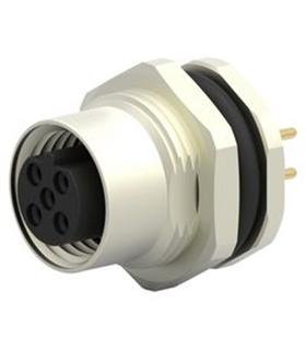 M12A04PFFSSH8001 - Ficha Sensor M12 Femea 4 pinos Painel - M12A04PFFSSH8001