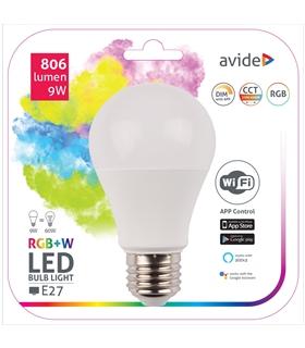 Lampada LED E27 230V 9W RGB+W WIFI - ASG27RGBW9WWIFI