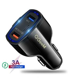 QG-CH05 - Carregador Isqueiro Quick Charge 3 USB+USB-C 3.5A - QG-CH05