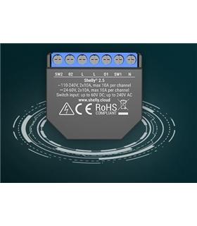 Shelly 2.5 - Módulo Comutação com Controle Estores WiFi - SHELLY2.5