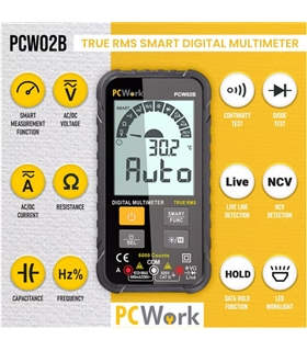 PCW02B - Multimetro Digital CATIII 600V com NCV; Cap - PCW02B