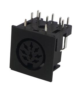 Conector DIN, Femea, 8 Pinos 270°, PCB - 671-0801
